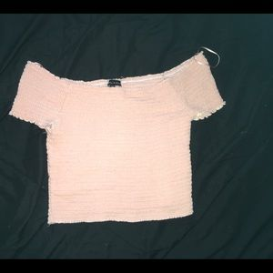 Kendall and Kylie peach off the shoulder crop top